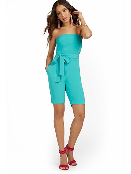 Strapless Bermuda Romper With Tie - New York & Company