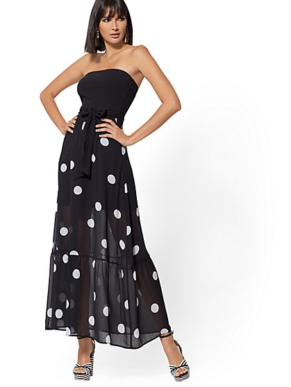 Strapless Black & White Dot Maxi Dress - New York & Company