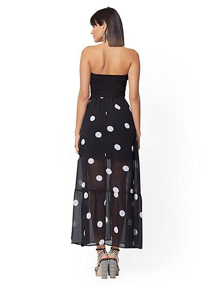 4729fd1ef12 ... Company Strapless Black   White Dot Maxi Dress - New York ...