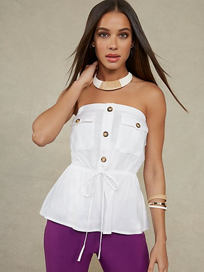 Strapless Button-Down Top - New York & Company