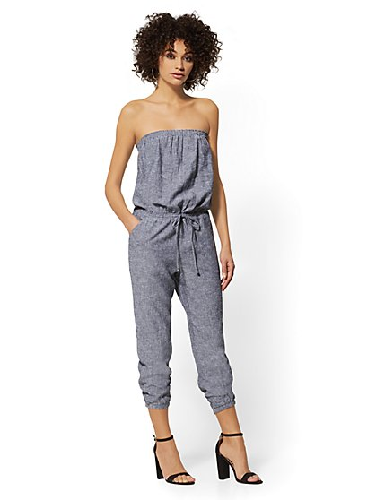 Strapless Linen-Blend Jumpsuit - Soho Street - New York & Company