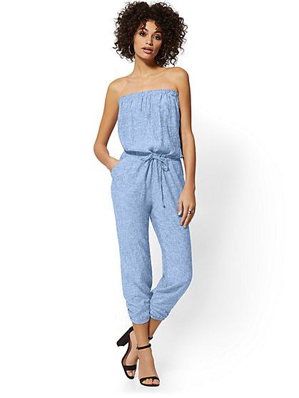Strapless Linen-Blend Jumpsuit - New York & Company