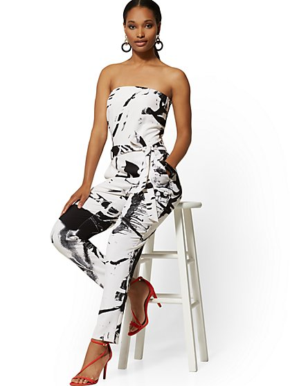 Strapless Madie Jumpsuit - Graffiti Print - 7th Avenue - New York & Company