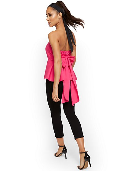 Strapless Peplum Bow Top - New York & Company