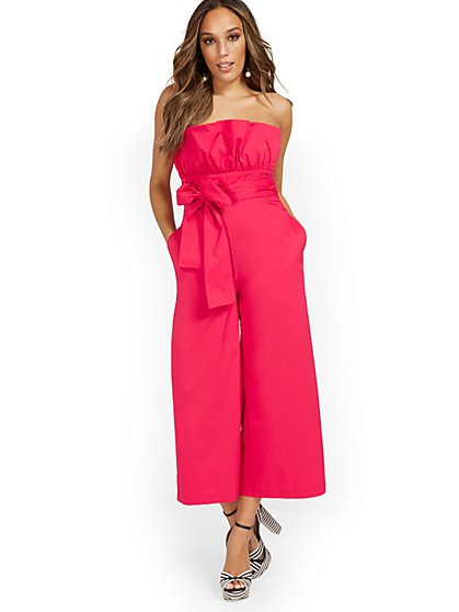 Strapless Ruffle-Top Wide-Leg Jumpsuit - New York & Company