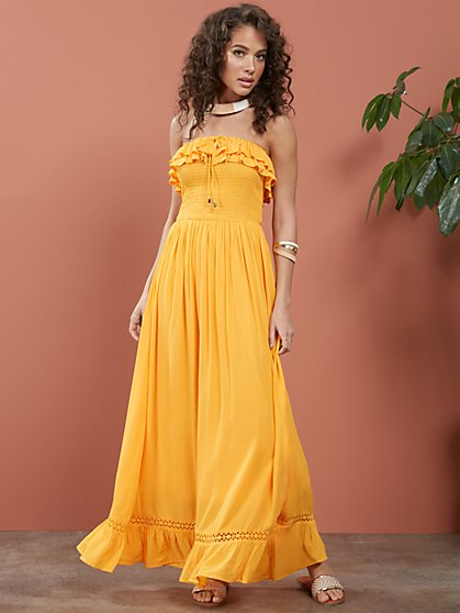 Strapless Smocked Ruffle-Top Maxi Dress - New York & Company