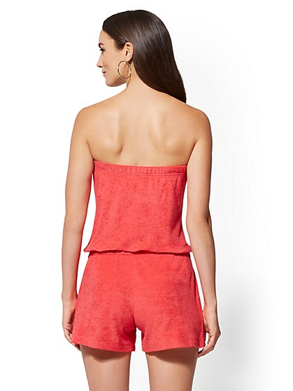 7913a0630d1e NY C  Strapless Terry Romper