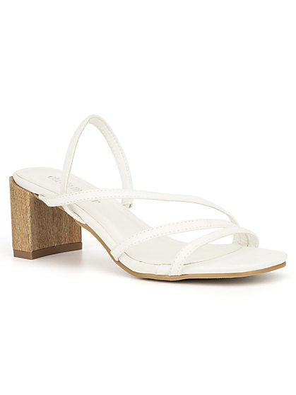 Strappy Wooden-Heel Sandal - New York & Company