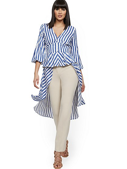 Stripe Balloon-Sleeve Hi-Lo Top - New York & Company