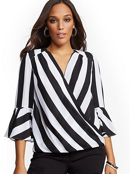 Stripe Bell Sleeve Wrap Blouse - Soho Soft Shirt - New York & Company