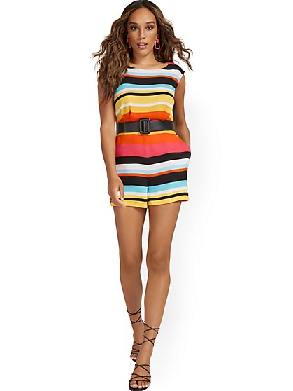 Stripe Belted Romper - New York & Company