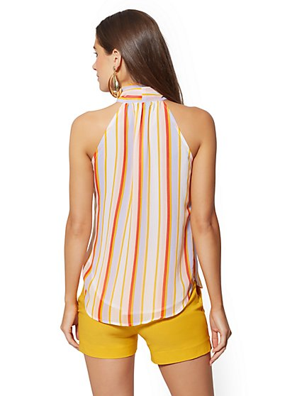 336bc1d6 ... Stripe Bow-Accent Halter Blouse - 7th Avenue - New York & Company ...