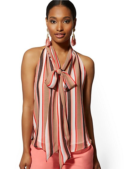 Stripe Bow-Accent Halter Blouse - 7th Avenue - New York & Company