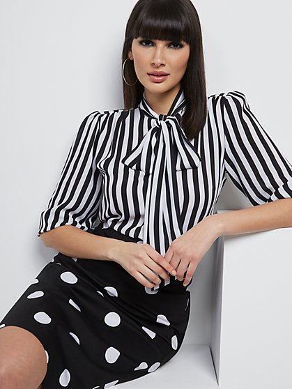Stripe Bow Blouse - 7th Avenue - New York & Company