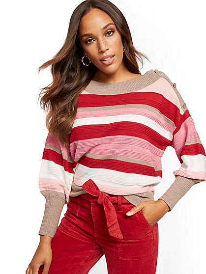 Stripe Button-Accent Sweater - New York & Company