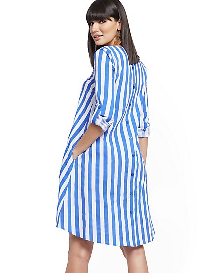 Stripe Button-Back Poplin Shift Hi-Lo Dress - New York & Company