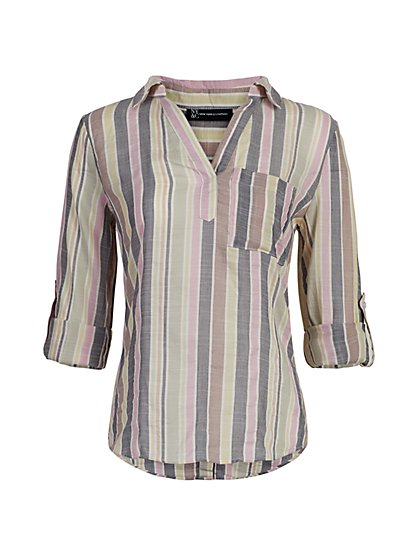 Stripe Button-Back Shirt - New York & Company