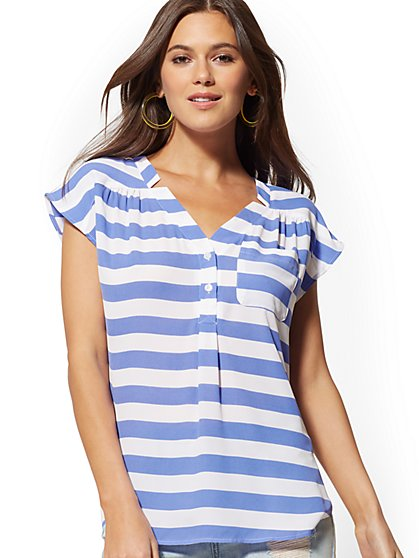 Stripe Button-Front Blouse - Soho Soft Shirt - New York & Company