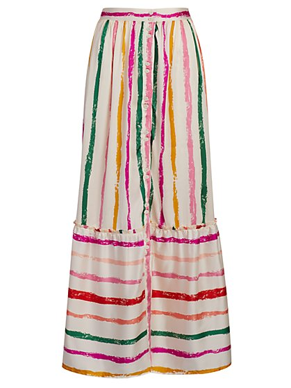 Stripe Button-Front Maxi Skirt - New York & Company