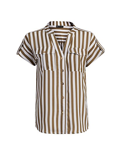 Stripe Button-Tab Utility Shirt - New York & Company