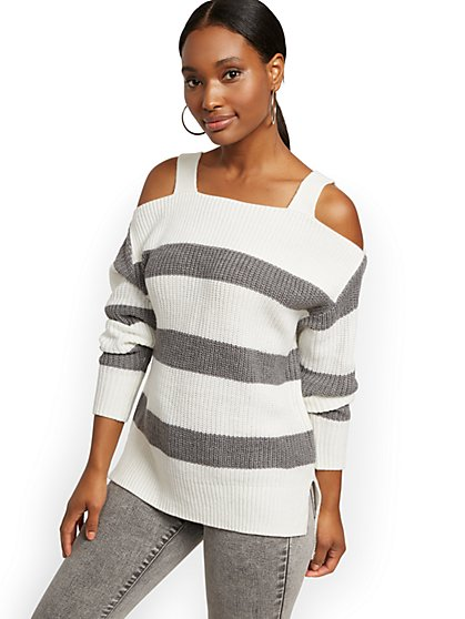 Stripe Cold-Shoulder Sweater - New York & Company