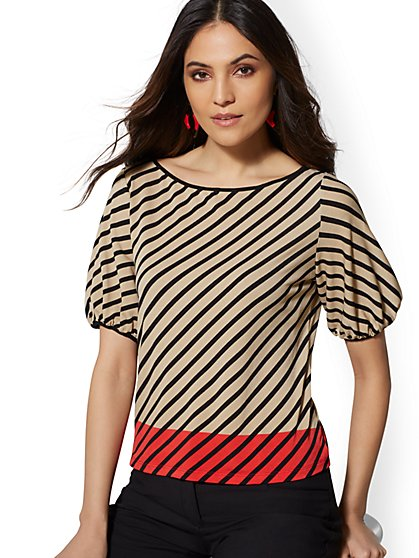 Stripe Colorblock Top - 7th Avenue - New York & Company