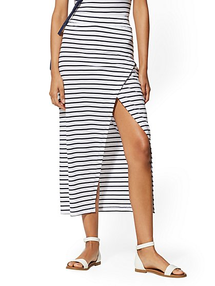 Stripe Cotton Maxi Skirt - Soho Street - New York & Company
