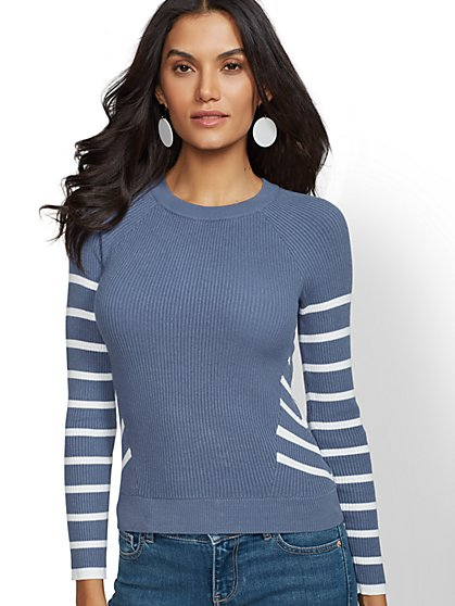 Stripe Crewneck Ribbed-Knit Sweater - New York & Company