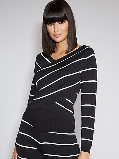 Stripe Crisscross Sweater - Gabrielle Union Collection - New York & Company