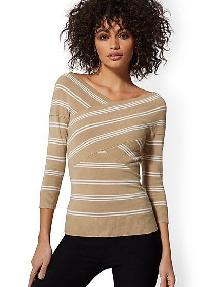 Stripe Crisscross V-Neck Sweater - New York & Company