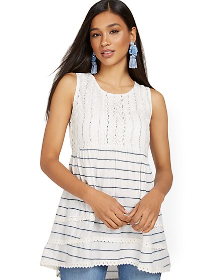 Stripe Crochet Tunic Tank - New York & Company