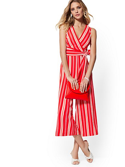 Stripe Crop Wide-Leg Jumpsuit - New York & Company