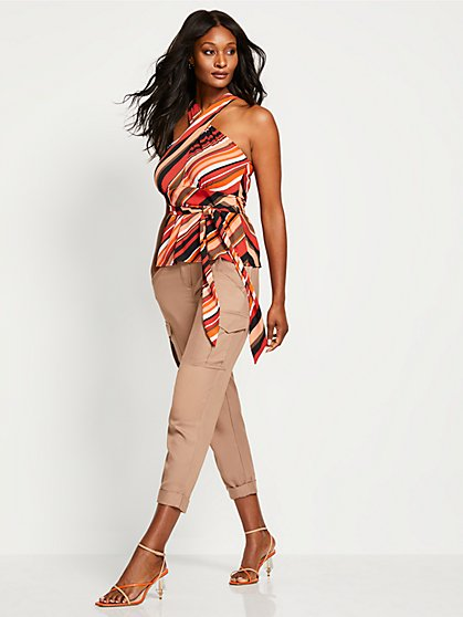Stripe Crossover Halter Blouse - New York & Company