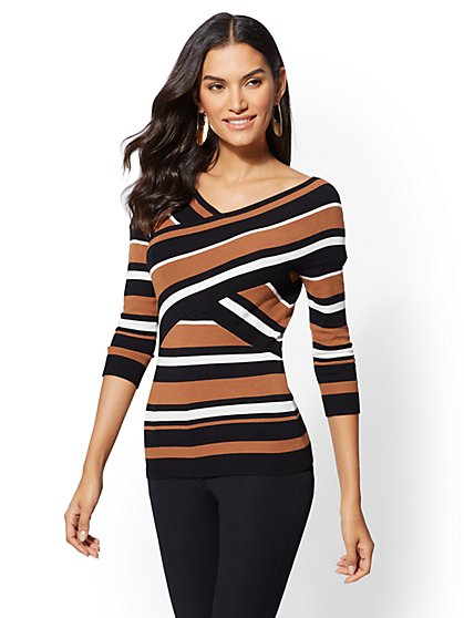 Stripe Crossover Sweater - New York & Company