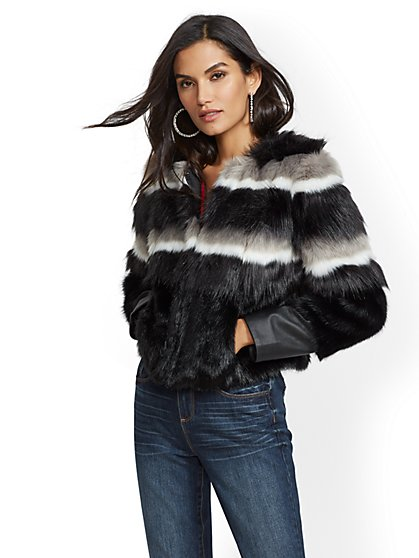 Stripe Faux-Fur Crop Jacket - New York & Company