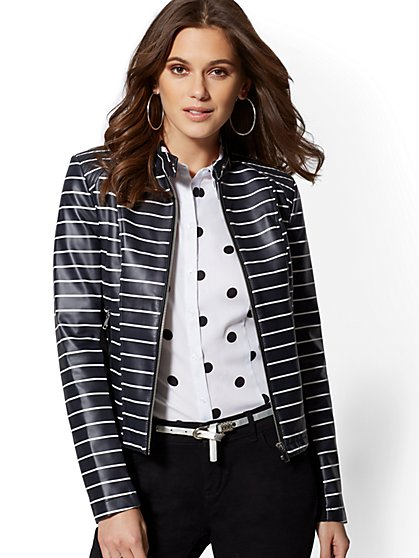 Stripe Faux-Leather Moto Jacket - New York & Company