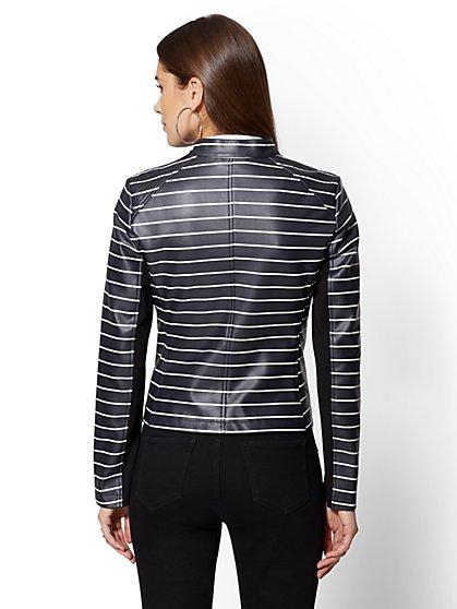 fb1facaca26 ... Stripe Faux-Leather Moto Jacket - New York   Company