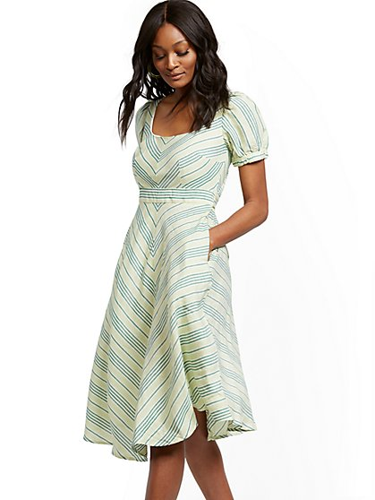 Stripe Fit and Flare Linen Blend Dress - New York & Company