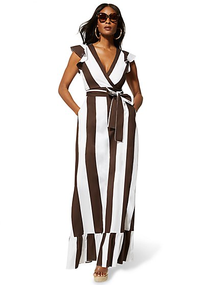 Stripe Flounced Maxi Dress - New York & Company