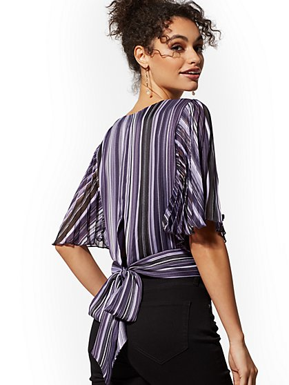 Stripe Flutter-Sleeve Blouse - New York & Company