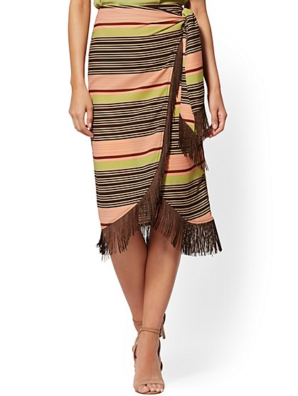 Stripe Fringe-Trim Wrap Pencil Skirt - New York & Company
