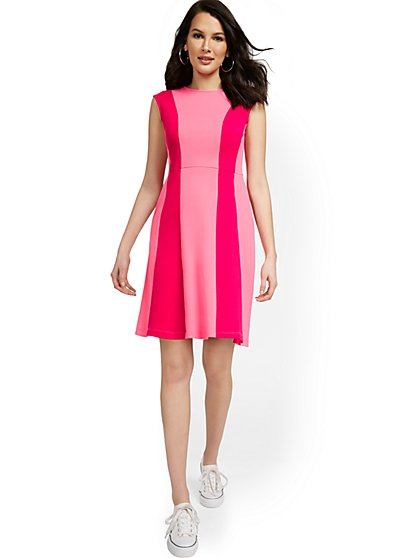 Stripe-Front Fit and Flare Dress - City Knits - New York & Company
