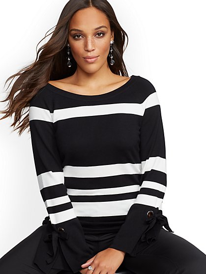 Stripe Grommet Lace-Up Sweater - New York & Company