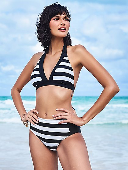 Stripe Halter Bikini Top - NY&C Swimwear - New York & Company