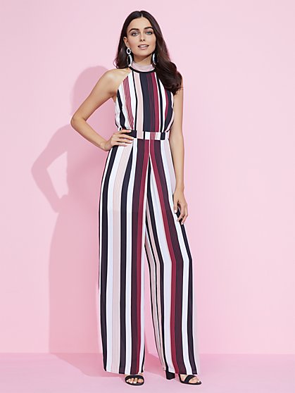 Stripe Halter Jumpsuit - New York & Company