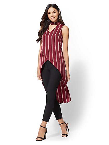 Stripe Hi-Lo Choker Tunic Blouse - New York & Company