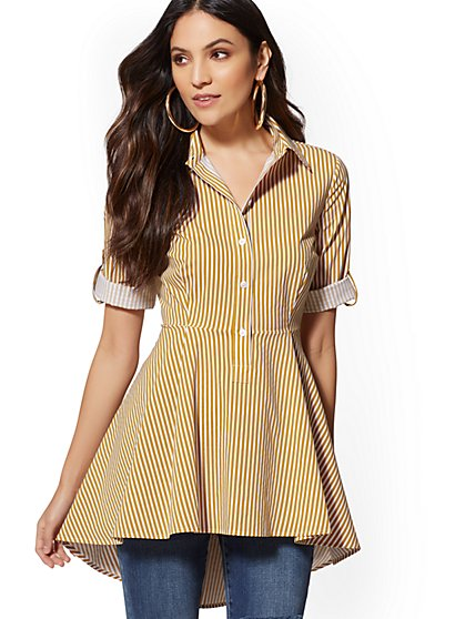 Stripe Hi-Lo Peplum Tunic Shirt - New York & Company