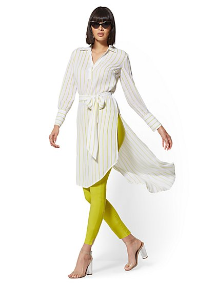 Stripe Hi-Lo Tunic Blouse - New York & Company