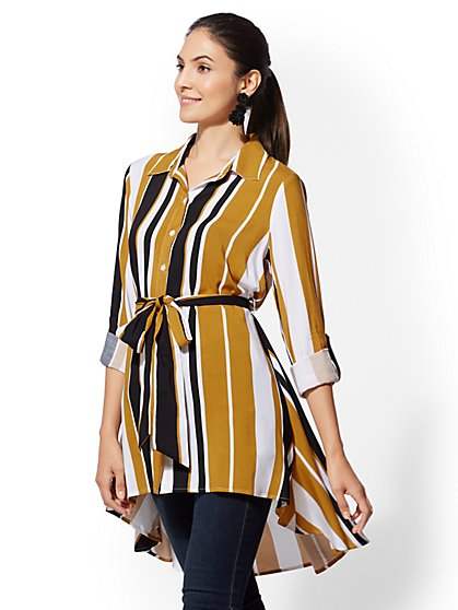 Stripe Hi-Lo Tunic Shirt - New York & Company