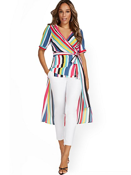 Stripe High-Low Wrap Top - New York & Company